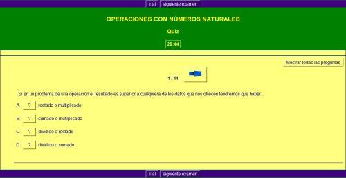 OPERACIONES CON NÚMEROS NATURALES. AUTOEVALUACIÓN