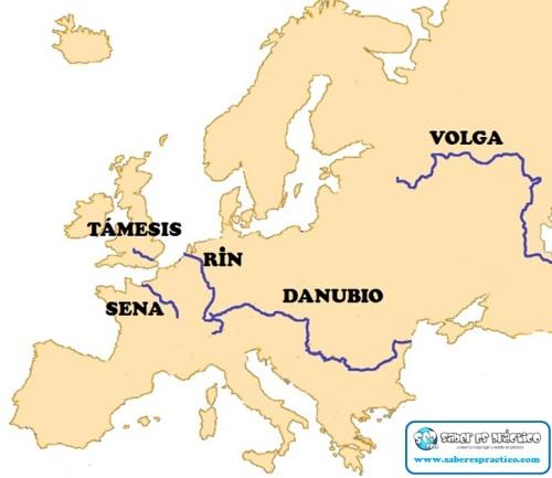 Principales ríos de Europa (mapa)