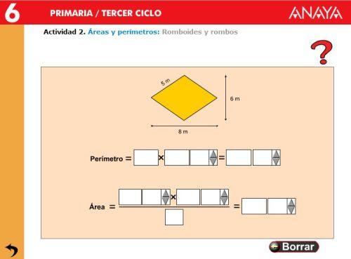 Resultado de imagen de areas y perimetros 6º primaria anaya