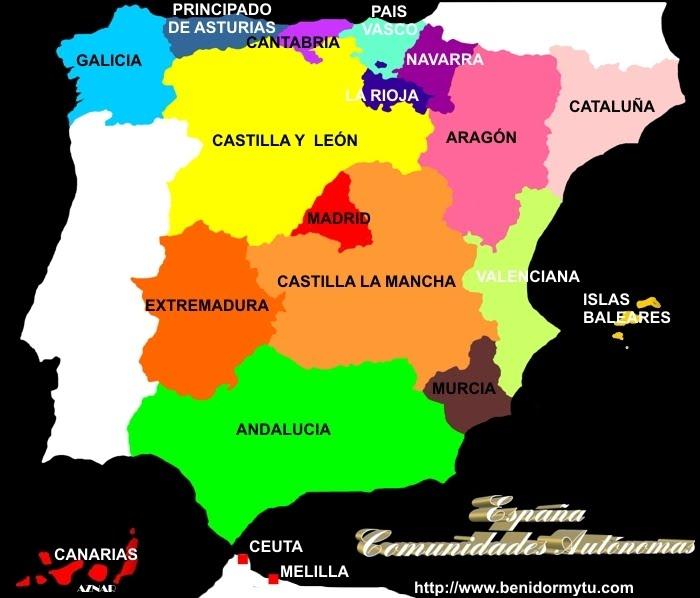 Resultado de imagen de mapa das comunidades autonomas de españa