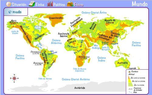 aprender mapa fisico del mundo