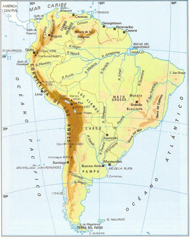 Mapa Mudo De America Del Sur En El Siglo Xviii