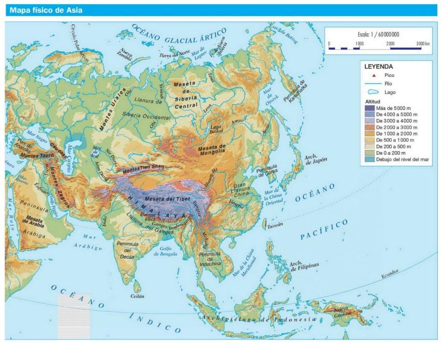 Resultado de imagen de mapa de asia fisico