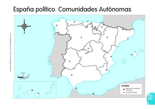 MAPAS DE ESPAA FSICOS POLTICOS Y MUDOS  JUGANDO Y APRENDIENDO