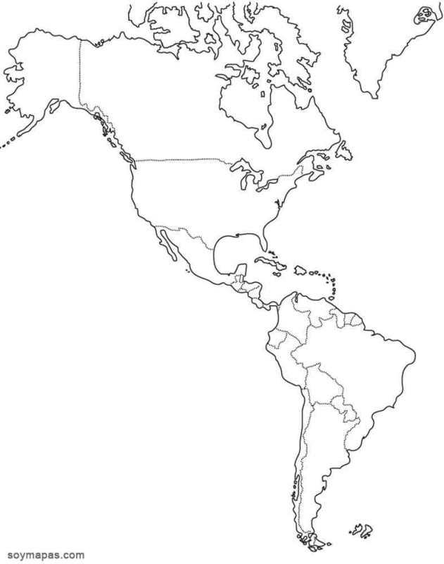 Mapa Mudo De America.Mapa Mudo De America Jugando Y Aprendiendo