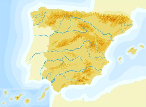 Mapa De España Mudo Rios Para Imprimir.Mapas De Espana Fisicos Politicos Y Mudos Jugando Y