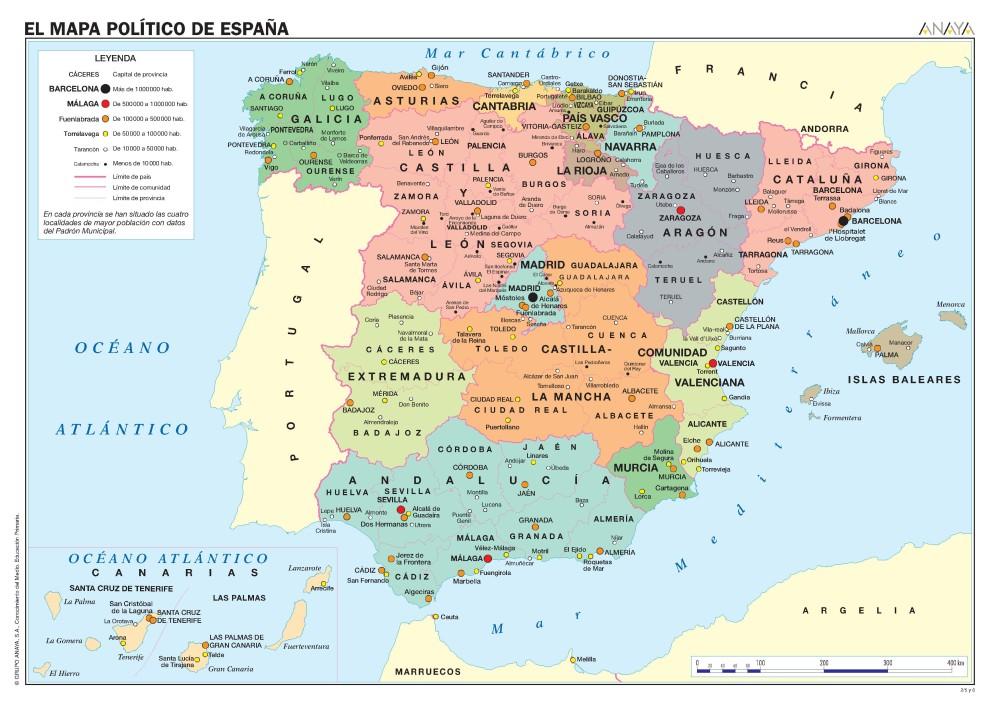 MAPAS DE ESPAÑA. FÍSICOS, POLÍTICOS Y MUDOS (1/6)