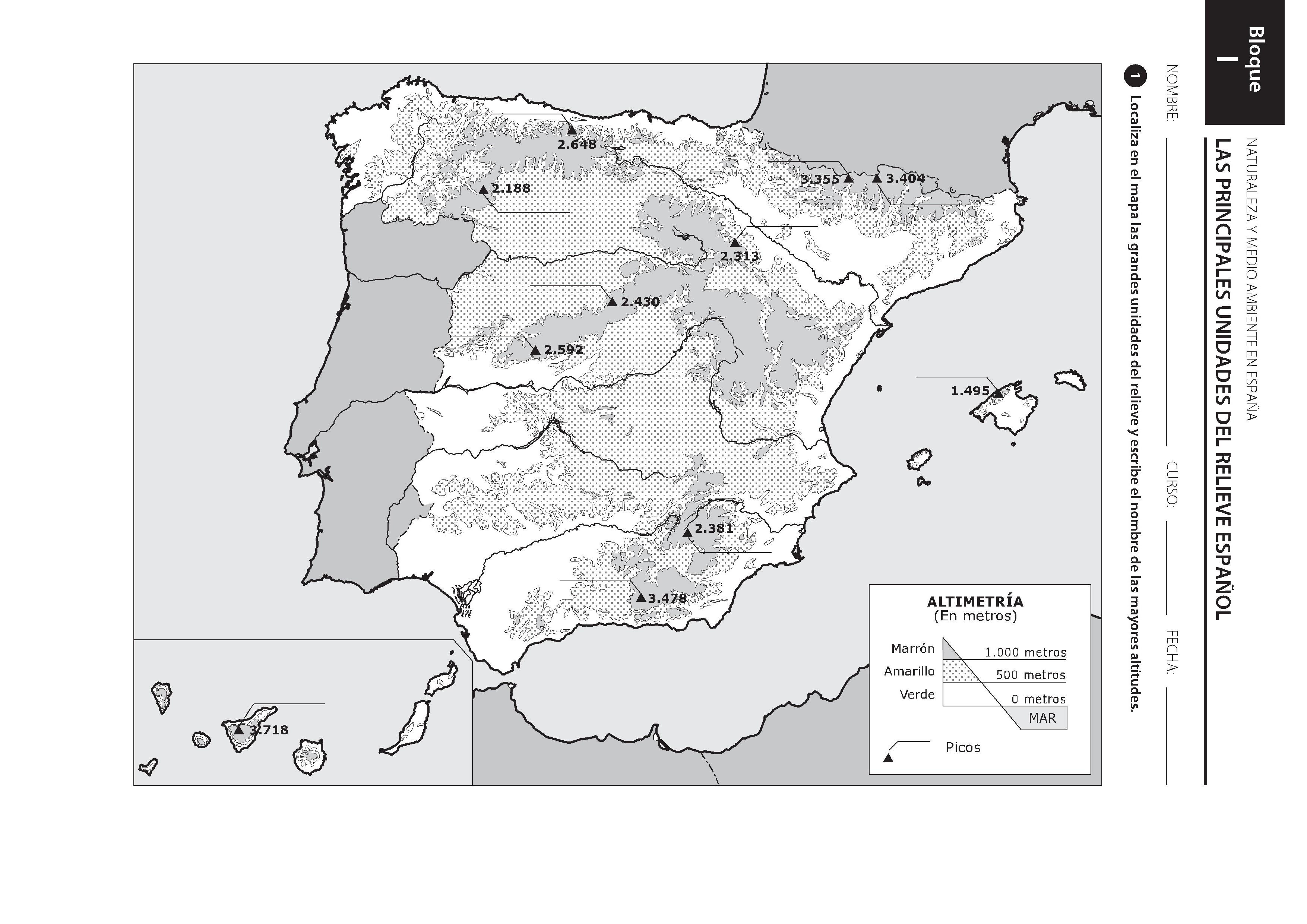 Mapa Relieve España Mudo.La Escuela En Infantil Y Primaria Geografia De Espana Y