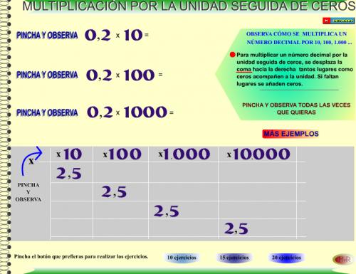 MULTIPLICACIÓN Y DIVISIÓN DE DECIMALES POR LA UNIDAD SEGUIDA DE ...