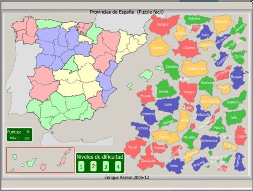Mapa Interactivo De Espana Fisico.Puzzle Interactivo Facil Provincias De Espana Jugando Y Aprendiendo