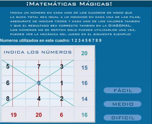Juego Matematicas Magicas Jugando Y Aprendiendo