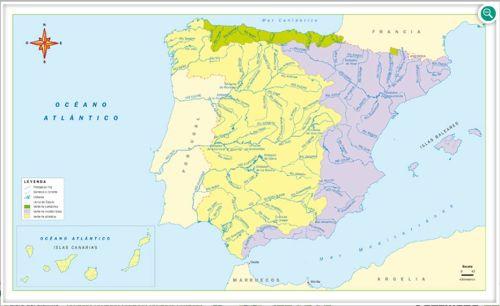 Mapa Rios De España 6 Primaria.Mapas De Espana Fisicos Politicos Y Mudos Jugando Y