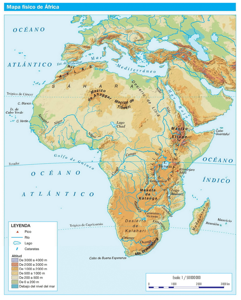 mapa de africa ÁFRICA FÍSICA   GEOGRAFÍA: Recursos Online mapa de africa