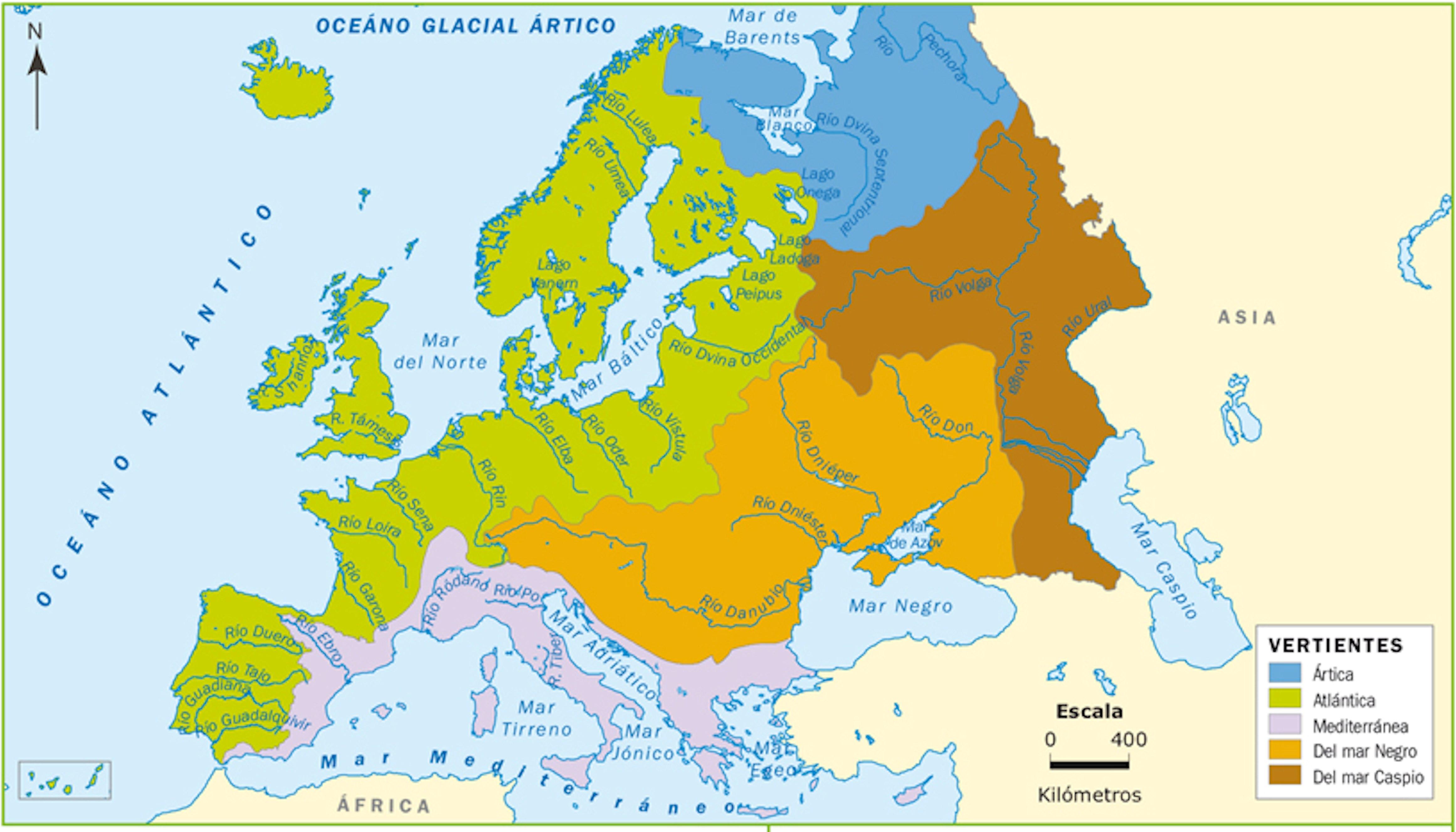 Rios Mapa Fisico De Europa