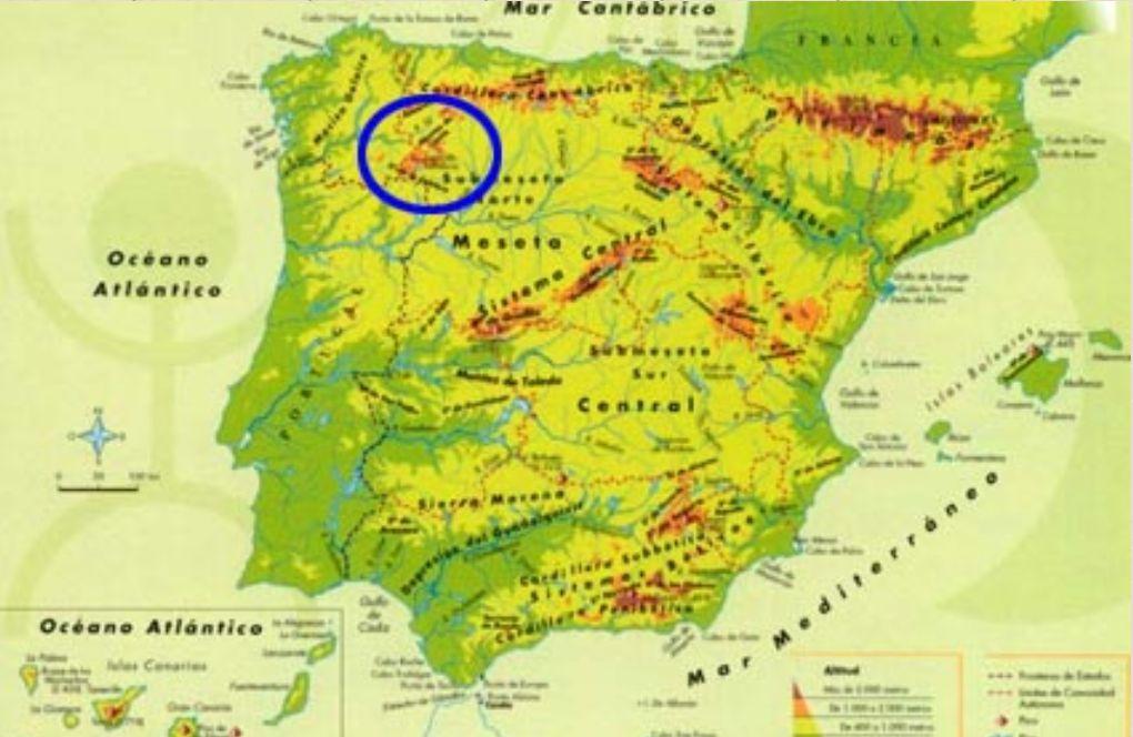 Montes De Leon Mapa.Montanas Que Rodean La Meseta
