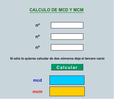 CALCULADORA DE MÍNIMO COMÚN MÚLTIPLO Y MÁXIMO COMÚN DIVISOR